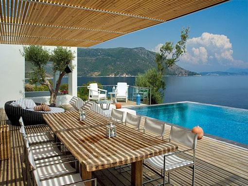 lefkada villa cinque camere con piscina spiaggia privata e pontile ... - Camera Da Letto Con Piscina